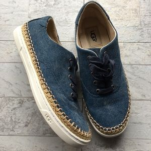 UGG EYAN II Denim Lace Up Sneaker Espadrille 6.5